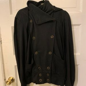 MIKE & CHRIS Black Snap Sweatshirt Jacket Hoodie